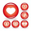 Set of web icons with hearts - Stock Vector