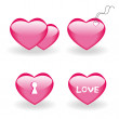 Set of four icons with hearts — Stock Vector