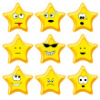 Set of nine cartoon gold stars — Stock Vector