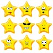 Stock Vector: Set of nine cartoon gold stars