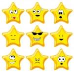 Set of nine cartoon gold stars — Stock Vector #1631263