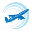 Stock Vector: Airplane icon in blue color.