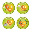 Set of four st. Valentine buttons — Stock Vector