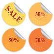 Set of four stickers for autumn sale — Stock Vector