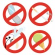 Set of restrictive signs - Stock Vector