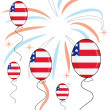 Stock Vector: Balloons on firework background