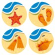 Bright set of beach stuff — Vector de stock