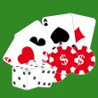 Cards, chips and dice — Stock Vector #1631591