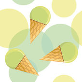 Seamless pattern with mint ice-cream — Stock Vector