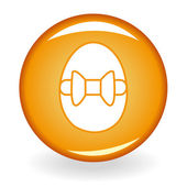 Glossy orange button with egg — Stock Vector