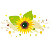 Sunflower on spotted background — Stock Vector