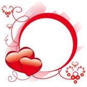 Circle frame with hearts — Stock Vector