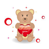 Bear with heart for st.Valentine day — Stock Vector