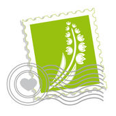 Postage stamp with lily of the valley — Stock Vector