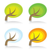 Four seasonal icons with tree — Stock Vector