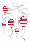 Balloons on firework background — Stock Vector