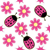 Ladybug and pink daisy — Stock Vector