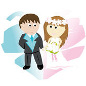 Bridegroom and bride — Stock Vector