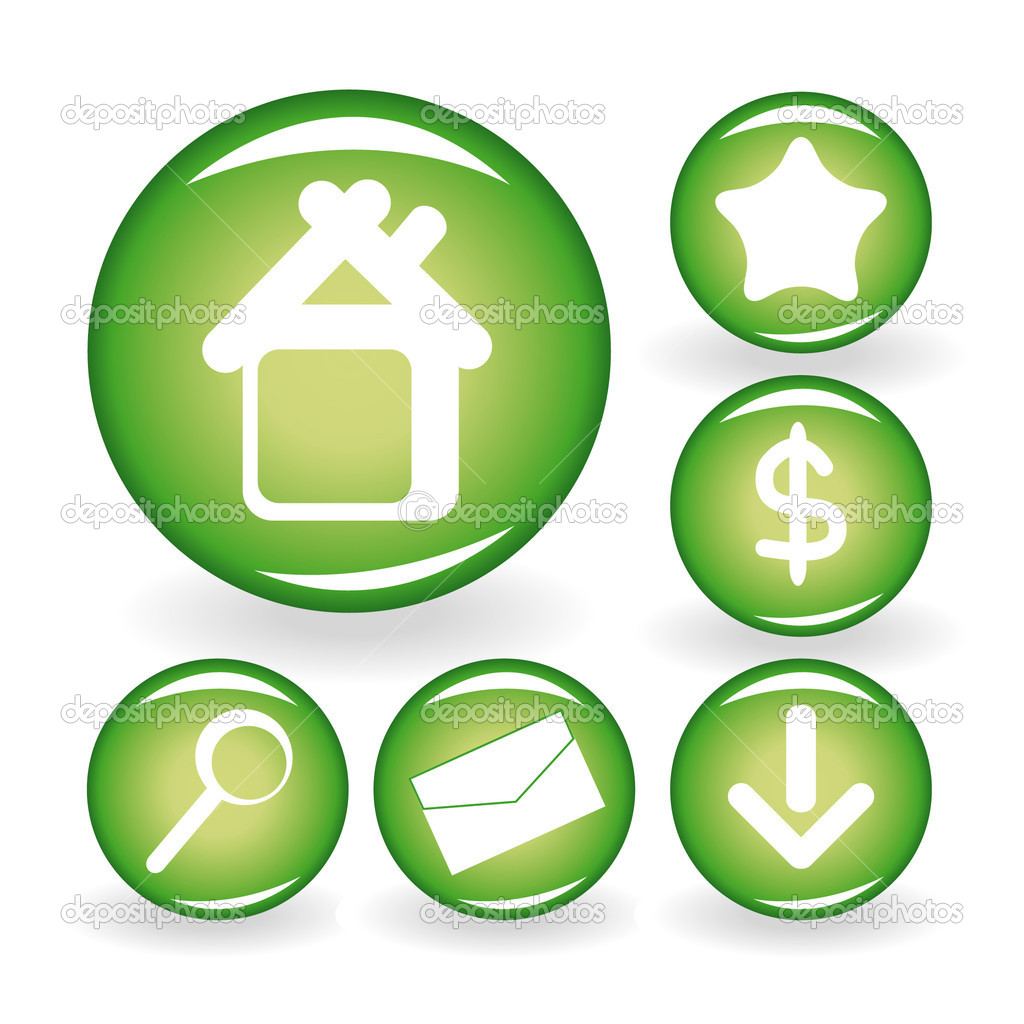 Set of green web icons for your design. Vector illustration. — Stock Vector #1630871