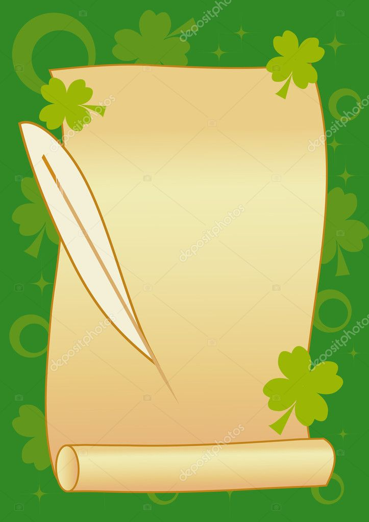 Scroll with feather on green background for St. Patrick's Day  Stock Vector #1630896