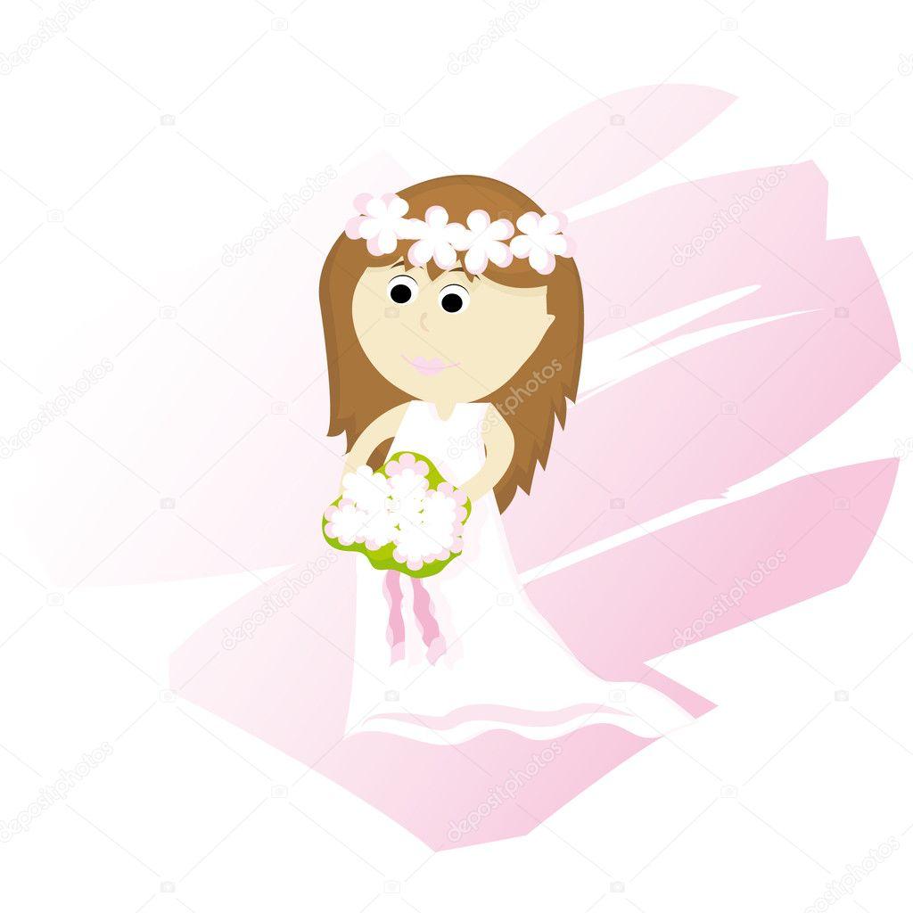 Sposa di cartone animato — vettoriali stock lillllia