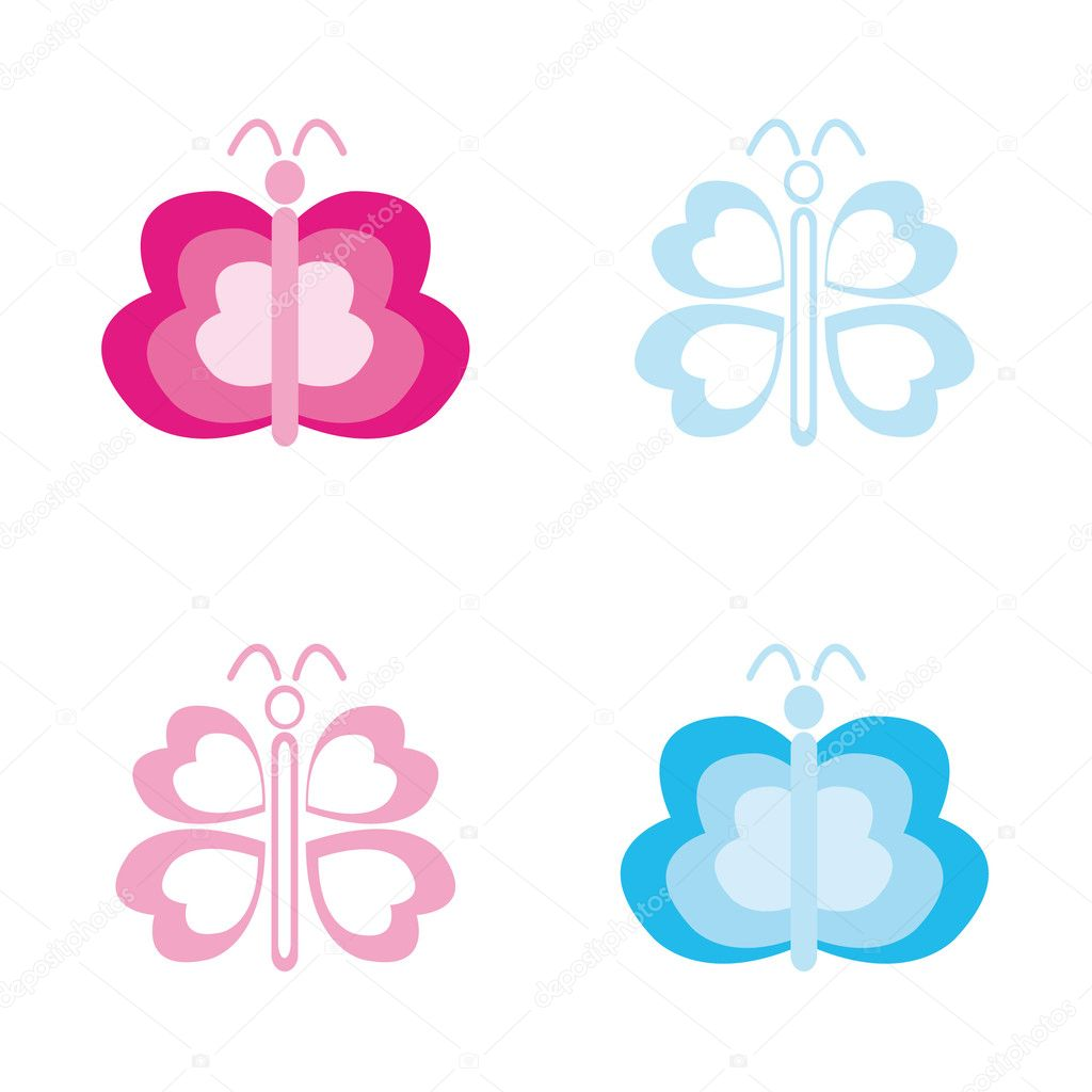 Four abstract butterflys. Vector illustration. — Stock Vector #1631647