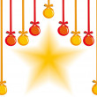 Hanging decorative balls and star — Vector de stock