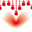 Hanging decorative balls and heart - Stock Vector