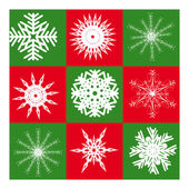 Nine white snowflakes — Stock Vector