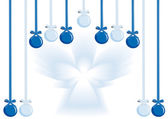Hanging decorative balls and angel — Stock Vector