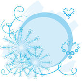 Christmas round frame with snowflakes — Stock Vector