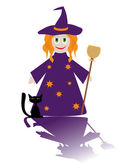Cartoon figure of little witch with cat — Stock Vector