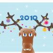 Stock Vector: New Year's background with reindeer