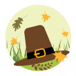 Pilgrim's hat on the grass — Stock Vector
