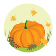 Autumnal background with pumpkin — Stock Vector