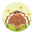 Cute little turkey looking at the leaf — Stock Vector #1691671