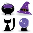 Stock Vector: Halloween set with witch's stuff