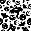 Seamless halloween pattern with ghosts - Stock Vector