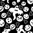 Stock Vector: Seamless halloween pattern with ghosts