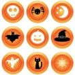 Set of halloween buttons — Stock Vector