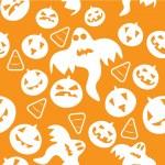 Seamless halloween pattern with pumpkins — Stock Vector