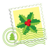 Postage stamp with holly — Stock Vector
