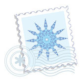 Postage stamp with snowflake — Stock Vector