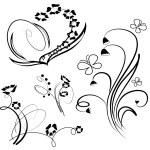 coleção de elemento de design floral — Vetorial Stock