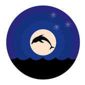 Silhouette of dolphins at moon — Stock Vector