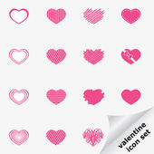 Valentine icon set with heart — Stock Vector