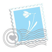 Postage stamp with snowdrop — Stock Vector