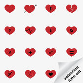 Valentine icon set with hearts — Stock Vector