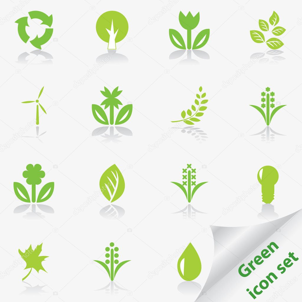 Green ecology icon set. Vector illustration.  Stock Vector #1903953