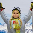 Little girl in mountains — Stock Photo